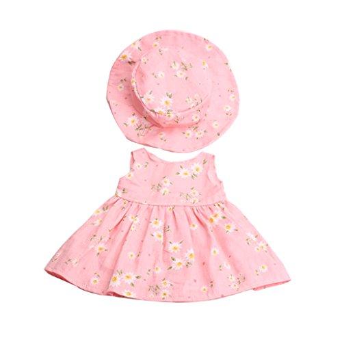 MagiDeal Puppenkleider Blumenkleid & Hut Anzug, Puppe Outfit Für 18 Zoll Puppe - Pink
