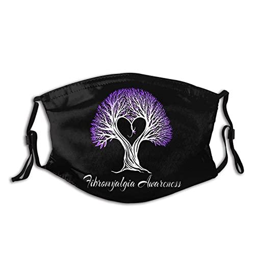 Fibromialgia Awareness Árbol de cinta púrpura con cara de corazón M-A-S-K bufanda reutilizable lavable antipolvo, bandanas para mujeres y hombres con 2 filtros