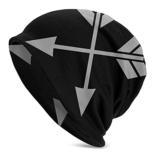 IUBBKI Cruzado doble flechas X (plata) mantener el calor en otoño e invierno sombrero de punto adulto