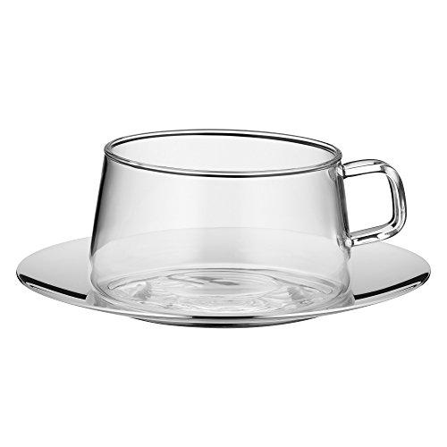WMF TeaTime Teeglas mit Untertasse Tee-Tasse, hitzebeständiges Glas, spülmaschinengeeignet