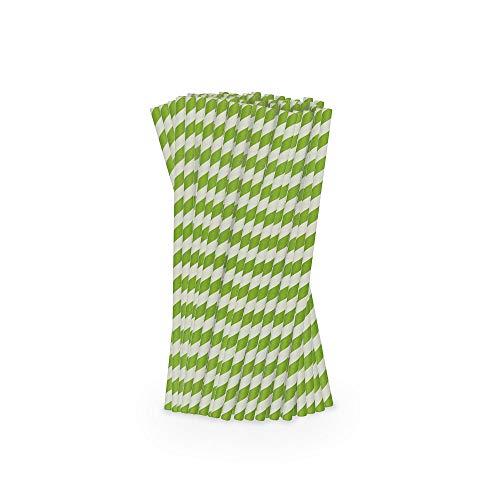 BIOZOYG Ecologiche Cannucce Jumbo in Carta Ø 0,8 cm I 200 Cannucce Grandi Cannucce di Carta a Strisce Verdi 25 cm I Cannucce Sostenibili Jumbo Cannucce Larghe di Carta biodegradabili