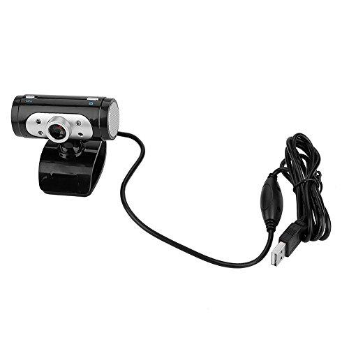 Junluck USB2.0 720P Webcam mit MIC, HD-PC-Kamera für Videoanrufe/Videokonferenzen/Online-Unterricht, Computer-PC Desktop-Laptop mit 4 Hellen LED-Nachtlichtern - Plug & Play