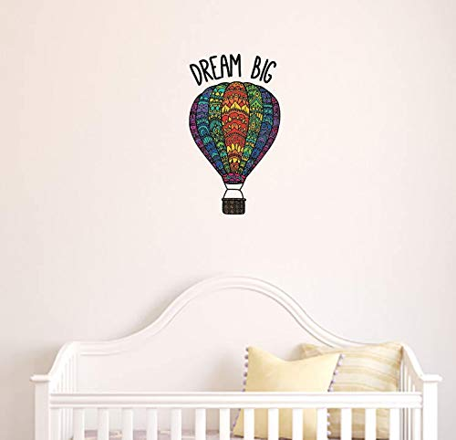 Vinilo adhesivo de pared plano con diseño de globo de aire caliente, 'Dream Big', opaco (8.75 pulgadas de ancho x 12 pulgadas de alto).