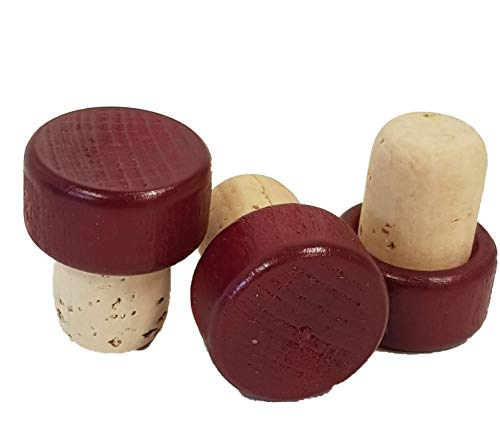 25 Griffkorken, Griff aus Holz - Stopfen Durchmesser 19 mm, Korken, Holzgriff in verschiedenen Farben (bordeaux)
