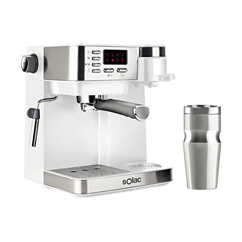 Solac CE4497 Multi Stillo 20 bar Kombi-Kaffeemaschine 3-in-1: Espressomaschine + Kaffeemaschine + Capuccino, tragbar, 320 ml, Edelstahl, BPA-frei, extra Cream, Zerstäuber, Weiß/Edelstahl