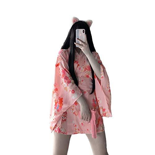 GXN SHOP Ropa erótica, lencería sexy para mujer, pijama sexy para mujer, bata de baño con estampado vintage, kimono sexy japonés y uniforme de adulto de talla grande (color: rosa, talla: talla libre)