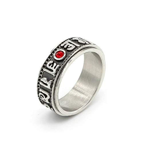 Beglie Ringe für Herren Herren Ringe Breit Edelstahlring Männer Rotierende Inschrift Verlobungsring Biker Ring Retro Siegelring Biker Ringe Gravur Silber 57 (18.1)
