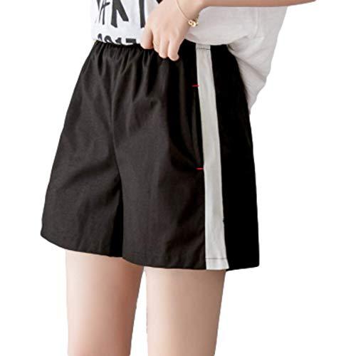 Pantalones Cortos de Mujer Verano Sueltos Casual Cintura elástica Pantalones a Rayas de Cintura Alta Pantalones Cortos de Pierna Ancha Salvaje XL