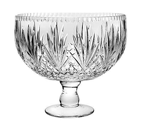 Barski - European Crystal - Handmade - Large Centerpiece Footed Bowl -Punch Bowl - 12 D - 12 Diameter - 270 oz - 85 quarts - Made in Europe