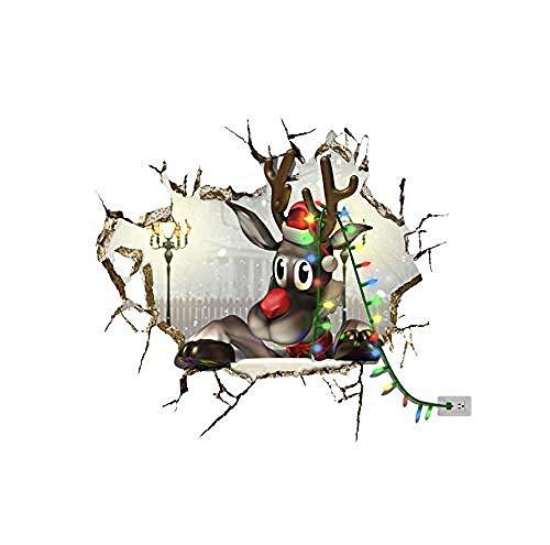 Muursticker 3D kerst rendier pak sticker sneeuw muursticker sticker huis muur gat decoratie behang muurschildering kinderen