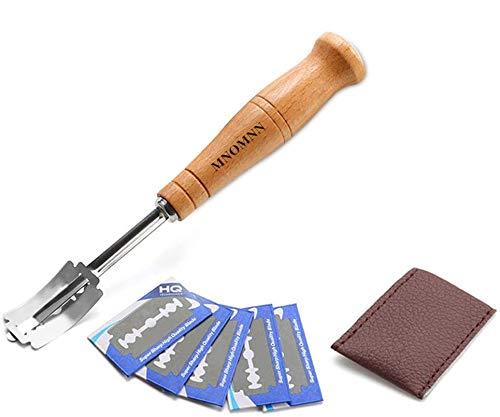 MNOMNN Couteau à Pain,Lame a Pain,Lame Boulanger avec 5 Acier Inoxydable Lames,Housse De Protection en Cuir,pour Pain Baguette Pâte Bretzel