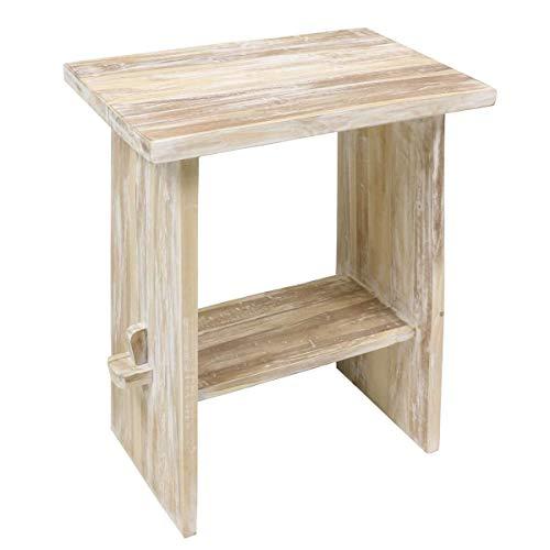 Oriental Galerie Waschtisch Holz Waschbeckenunterschrank Tisch Badmöbel Badezimmermöbel Teakholz 60 cm Breite Whitewash