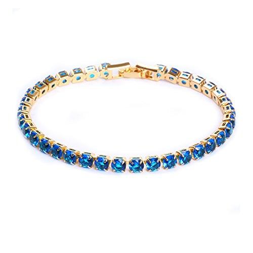 Zealmer Shoopic AAA Cubic Zircon Tennis Bracelet Crystal Link Hand Chain for Women (Blue 2)