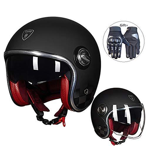 Volwassen motorhelm, mannen en vrouwen Open Gezicht Motorhelm Anti-botsing Jet Helm Bril Vizier, Gift Handschoenen
