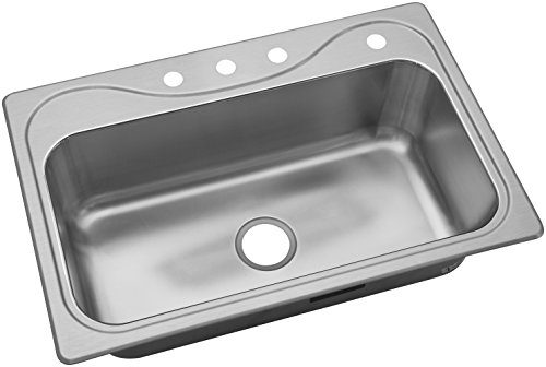 STERLING, a KOHLER Company 24912-4-NA Drop-In Southhaven 33 In. x 22 In. x 8 In. Single-Bowl Kitchen Sink with Four Faucet Holes, Stainless Steel, Luster