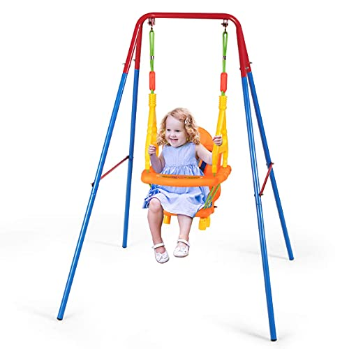 Costzon Toddler Swing Set, Outdoor Metal Swing Set with Safety Harness and Handrails, A-Frame Toddle...