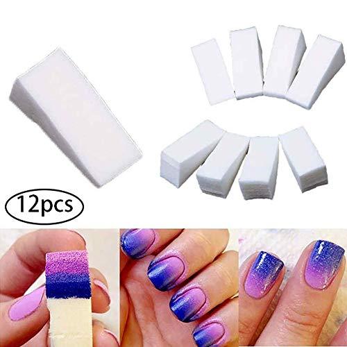 Hilai 12 UNIDS/SET Nail Esponja de Maquillaje Tipo Beauty Blender Trapezoide Beige Nail Art Esponja Estampación Polaco Manicura Nail Art Decoración Accesorios