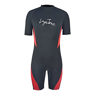 Layatone Shorty Wetsuit Men Women 3mm Neoprene Suit Canoeing Surfing Scuba Diving Shorty Suit Adults Thermal One Piece Swimsuit Wet Suit (Red,3XL)
