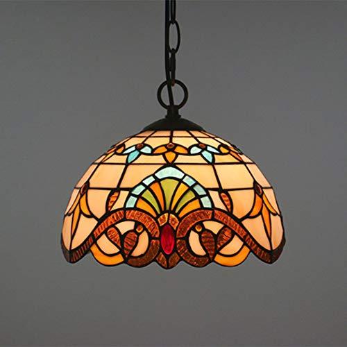 W&HH Tiffany Pendelleuchte, Vintage Design Mittelmeer Deckenbeleuchtung Korridor Balkonzubehör Hängelampe Rustikale Glasmalerei Dekoration,25cm