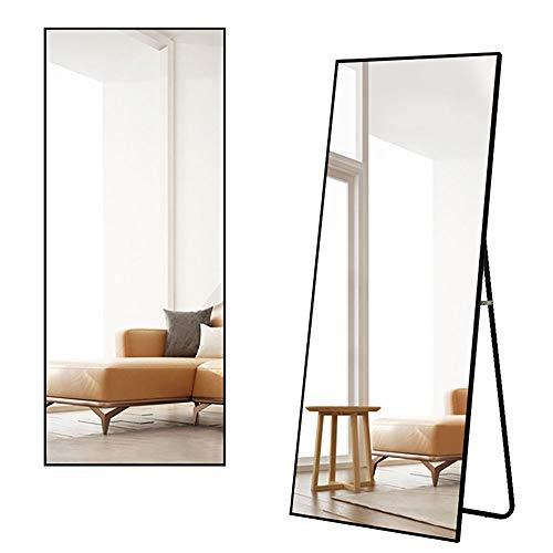 ミルオ君の鏡工房 全身鏡 スタンドミラー 大型 姿見鏡 全身ミラー 壁掛け鏡 アルミ合金フレーム おしゃれ スタイリッシュ 160*50cm飛散防止 (ブラック)