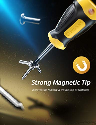 Magnetic Screwdriver Set 14 PCS Include Slotted/Phillips/Torx Precision Screwdriver, CREMAX Professional Cushion Grip and Non-Slip for Repair Home Improvement Craft