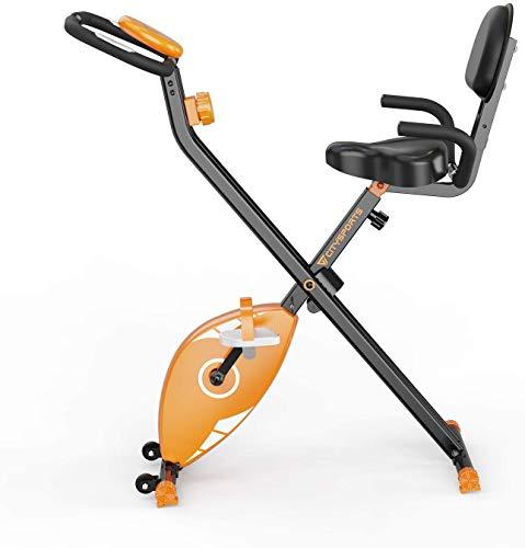 F-Bike Heimtrainer,heimtrainer fahrrad,klappbarer Hometrainer, Indoor Spinning-Bike, LCD-Display, 8 Widerstandsstufen, Heimtrainer für Senioren, Beintrainer für zuhause und Büro (orange)