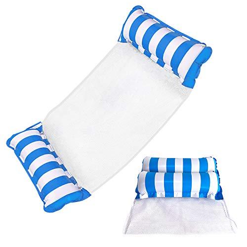 ZMDHL Hamaca de agua 4 en 1 a rayas, sillón colgante para agua, colchoneta para piscina hinchable para adultos y niños (azul)