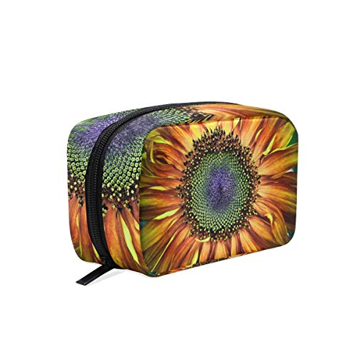 Cosmetic Bag with Zipper Nature Sunflower Art Clutch Travel Storage Bag Organizer Case for Women Makeup Pouch Bag