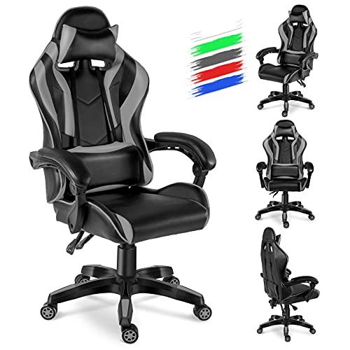 Twomaples Gaming-Stuhl, Ergonomischer Computer-Drehstuhl mit Einstellbarer Höhe und Kopfstütze, PU-Leder-Büro-Schreibtisch-PC-Stuhl mit extra gepolsterten Armlehnen für Erwachsene, Jugendliche