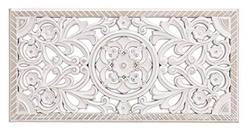 Meinposten. Wandornament Holz weiß 60x30 cm Shabby Landhaus Ornament Holzornament Holzbild