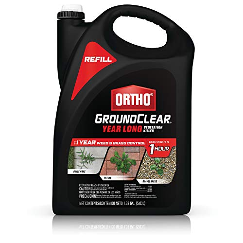Ortho GroundClear Year Long Vegetation Killer Refill - Visible Results in 1 Hour, Kills Weeds and Grasses to the Root, Up to 1 Year of Weed and Grass Control, 1.33 gal.