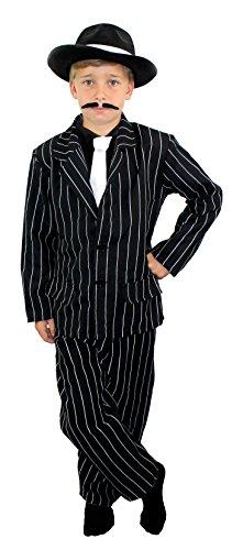 I LOVE FANCY DRESS LTD Kinder 1920 Gangster KOSTÜM KOSTÜM - Schwarze NADELSTREIFEN Anzug - Jacke, Hose & WEIßE Krawatte - Kinder (SMALL)