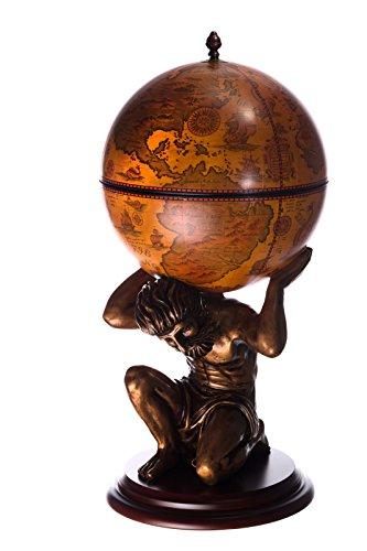 Riesiger Barwagen JG 42016R-GR, Exclusive Figur Atlas, mit Eukalyptusholz Boden antik Rotbraun, geöffnet 100 cm hoch Weltkugel Globusbar, Bartisch, Hausbar, Cocktailbar