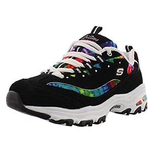 Skechers Women's D'Lites-Summer Fiesta Sneaker, Black/Multi, 9 W US