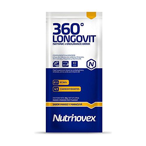 Bebida isotónica y energética Nutrinovex 360º Longovit con BCAA's, Glutamina y Magnesio (Mango maracuyá, 60g x 12 ud.)