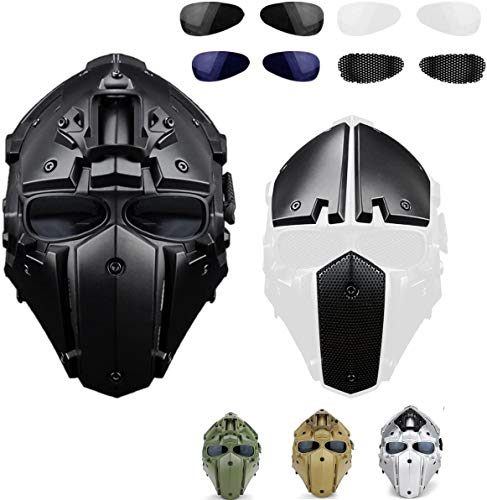 iMeshbean Full Face Protective Mask Tactical Airsoft Helmet with 4 Pairs Visor Goggles as a Gift for Hunting Paintball Military Cosplay Movie Prop (Black)
