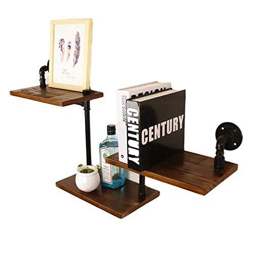DGDF Półka na książki półka na książki z litego drewna półka na słowo rura woda retro dekoracja przemysłowa wisząca na ścianie półka z kutego żelaza