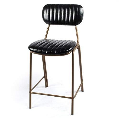 Ontbijtstoel, rekkruk, zwart, vintage-nieten, sierrug PU-kunstlederlook, zithoogte 45/63/75 cm, bronzen barkruk voor de woonkeuken 63 cm hoog.