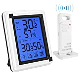 AMIR Indoor Outdoor Thermometer Humidity Monitor, Wireless Hygrometer with Touchscreen Backlight, Humidity Gauge