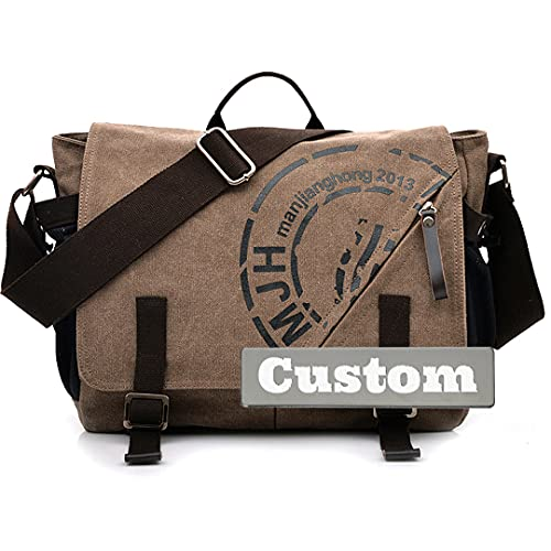 Personalizado Nombre Personalizado Messenger Bags Men Canvas Mochila Bolsa de Hombro Viajes Crossbody (Color : Kafeise, Size : One Size)