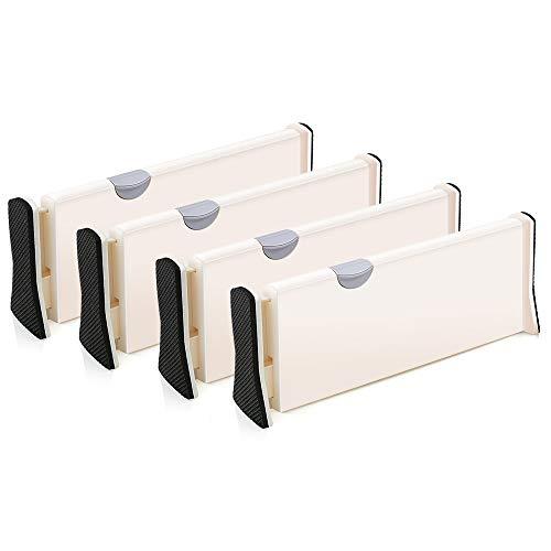 4er-Set Schubladen-Organizer Schubladenteiler verstellbarer Trennelemente Schublade organisieren - Schubladeneinsatz für Küchen- & Schlafzimmerschubladen