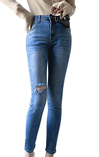 LISUEYNE Dames Casual Hoge Taille Slim Fit Stretch Jeans Frayed