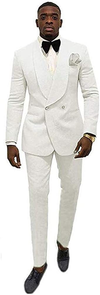 TOPG Men's Shawl Lapel Wedding Jacquard Suits 2 Pieces Groom Tuxedos Jacket Pants Prom Suits