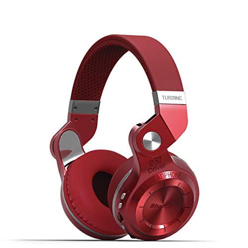 Bluedio T2+ (Turbine 2 plus) Cuffie Bluetooth MP3 Integrato , Cuffie Wireless Senza Fili con Radio FM e Lettore MP3; Stereo / Extra Bass / Microfono Integrato per Cellulare, Colore: Rosso