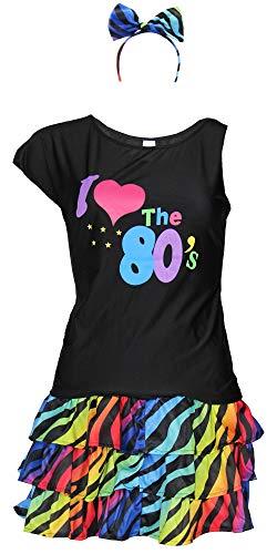 Foxxeo 80er Jahre Damen Kostüm - buntes Tutu Haarreif und schwarzes neon Shirt - Größe S-XXL - Ballet Fasching Karneval Tüll Rock kurz, Größe:L