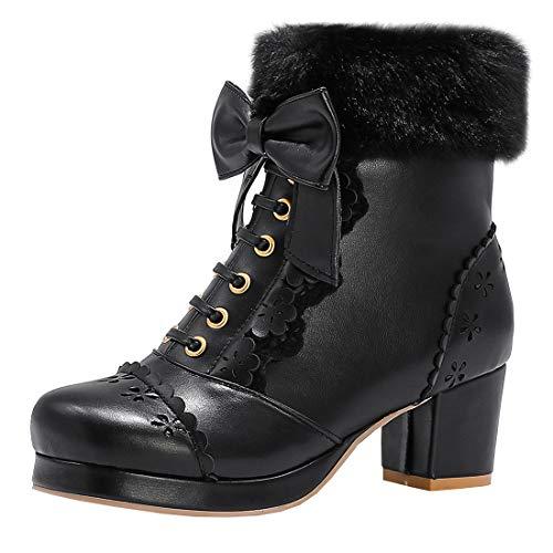 Etebella Damen Lolita Stiefeletten mit Schleife und Fell Plateau Ankle Boots Blockabsatz Süße Warm Gefüttert Winterschuhe(Schwarz,41)