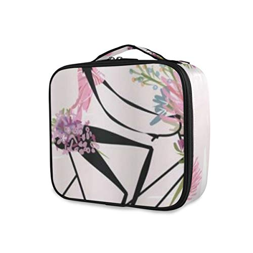 SUGARHE Ragazza In Bicicletta Con Acquerello Daisy Flowers Basket,Beauty Case,Borsa Cosmetica Portatile Professionale per Trucco per