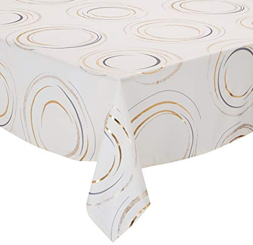 CALITEX - Tovaglia Festive Fusan, 140 x 350 cm, Colore: Avorio