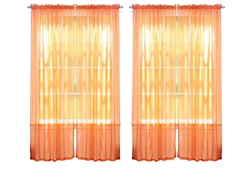 J&V TEXTILES 4-Pack Value: Solid Sheer Window Curtain Panels (Orange)