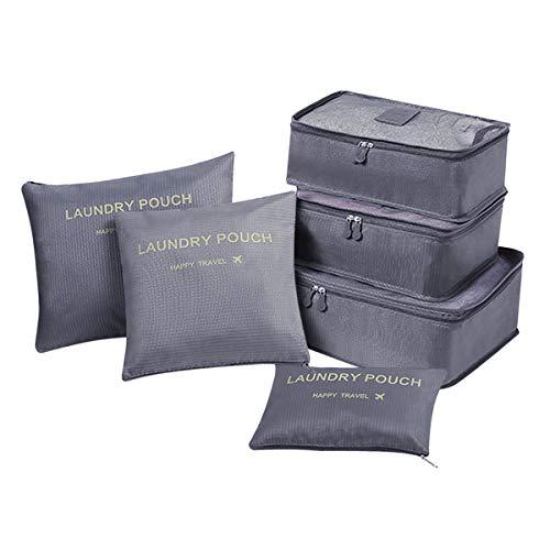 Coolzon Organisateur de Valise et Bagage Organisateur de Sac, Packing Cubes Voyage Pochette Rangement, 6 pcs, Gris